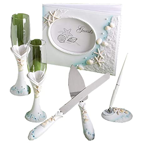 d93b57368 Amazon.com  Finishing Touches Collection of beach themed wedding day  accessories  Kitchen   Dining