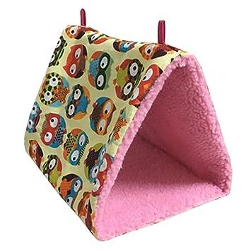 Hamaca para pájaro loro, UEETEK colgante de cama felpa colgante de cueva de jaula acurrucarse feliz Hideaway (Búho): Amazon.es: Productos para mascotas