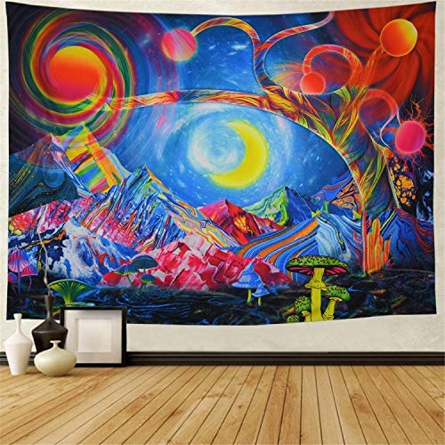Trippy Sun and Moon Tapestry Psychedelic Tree of Life Tapestry Hippie Mushroom Mountain Wall Hanging Fantasy Magic Space Tapestry Colorful Abstract Art for Room