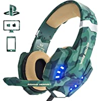 PS4 Gaming Headset, EasySMX LED-Beleuchtung Noise Cancellation Stereo Gaming Headset mit Mikrofon 3,5mm und In-line-Controller, Kompatibel Xbox one, PS4, Mobile Phones, Laptop Tablet und PC