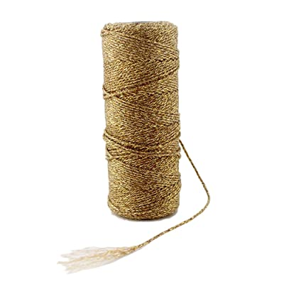 Ipalmay 100m Metallic Gold Bakers Twine Spool 3-Ply for DIY Crafts Arts or Gift Wrapping: Home & Kitchen