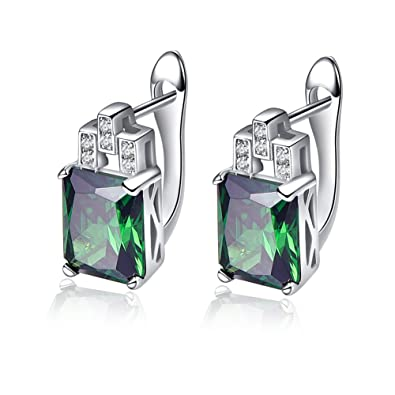 Bonlavie Women's 10.75ct Green Emerald Cut Emerald CZ 925 Sterling Silver Lever Back Earrings IWec1o
