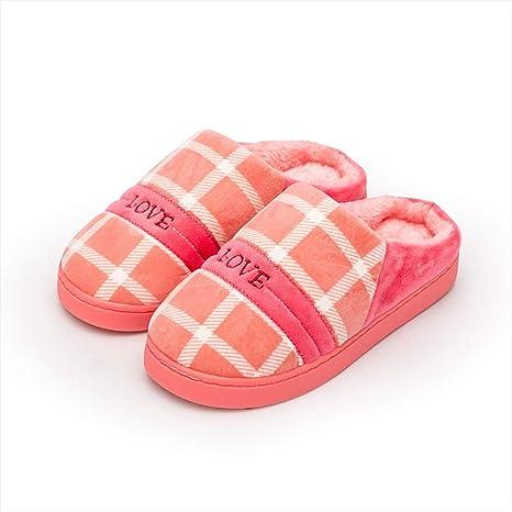 WODENINEK El Nuevo Suela Gruesa Enrejado Zapatillas De Algodon Otoño E Invierno Interior Zapatos De Ocio