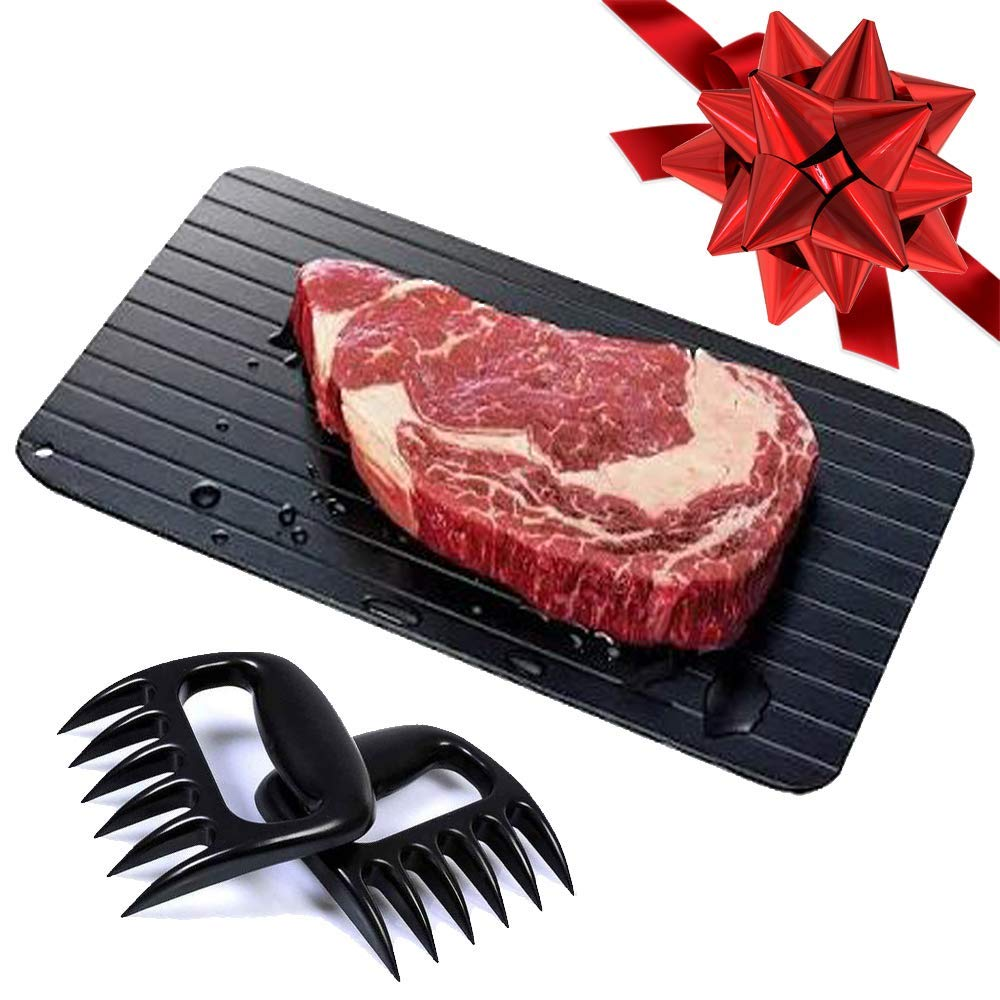 Defrosting Tray with Two Meat Claws | Rapid Thawing Plate (LARGEST SIZE - 14 inches) Meat Claws & Defrost Tray for BBQ, Kitchen Tools, Frozen Foods by BRIGHT TRICKS (Image #1)