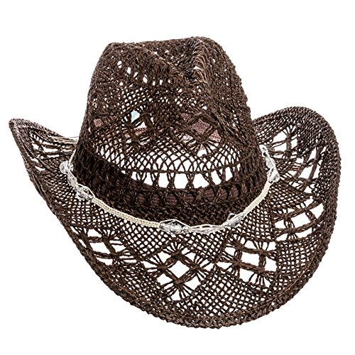 Dorfman Pacific Womens Straw Western Cowgirl Hat w/ Glass Beads (Brown)