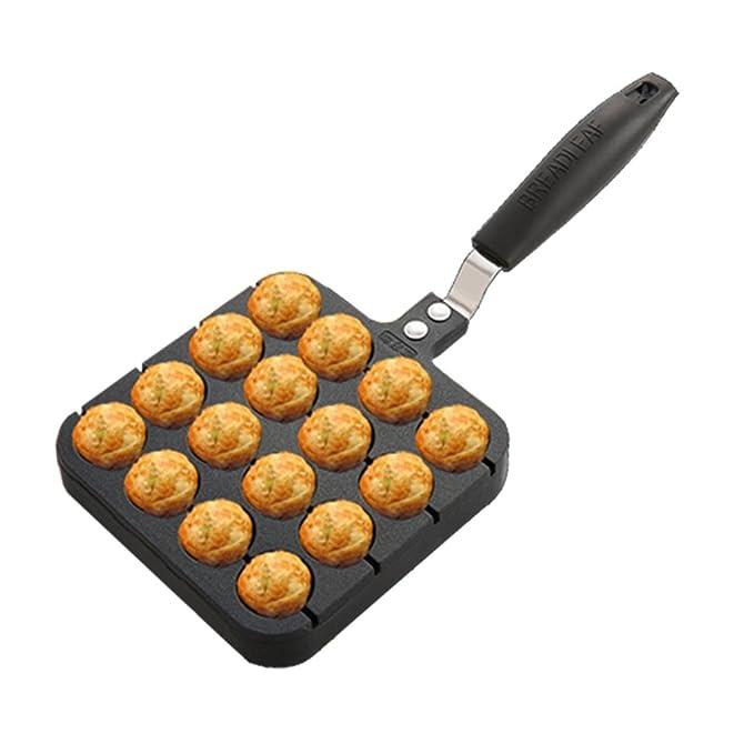 Olla Pequeña DE 16 Agujeros para Pulpo Casero Formas takoyaki Pancake Maker Molde para Hornear Grill Pan Placa Bola de Pulpo Antiadherente Takoyaki: ...