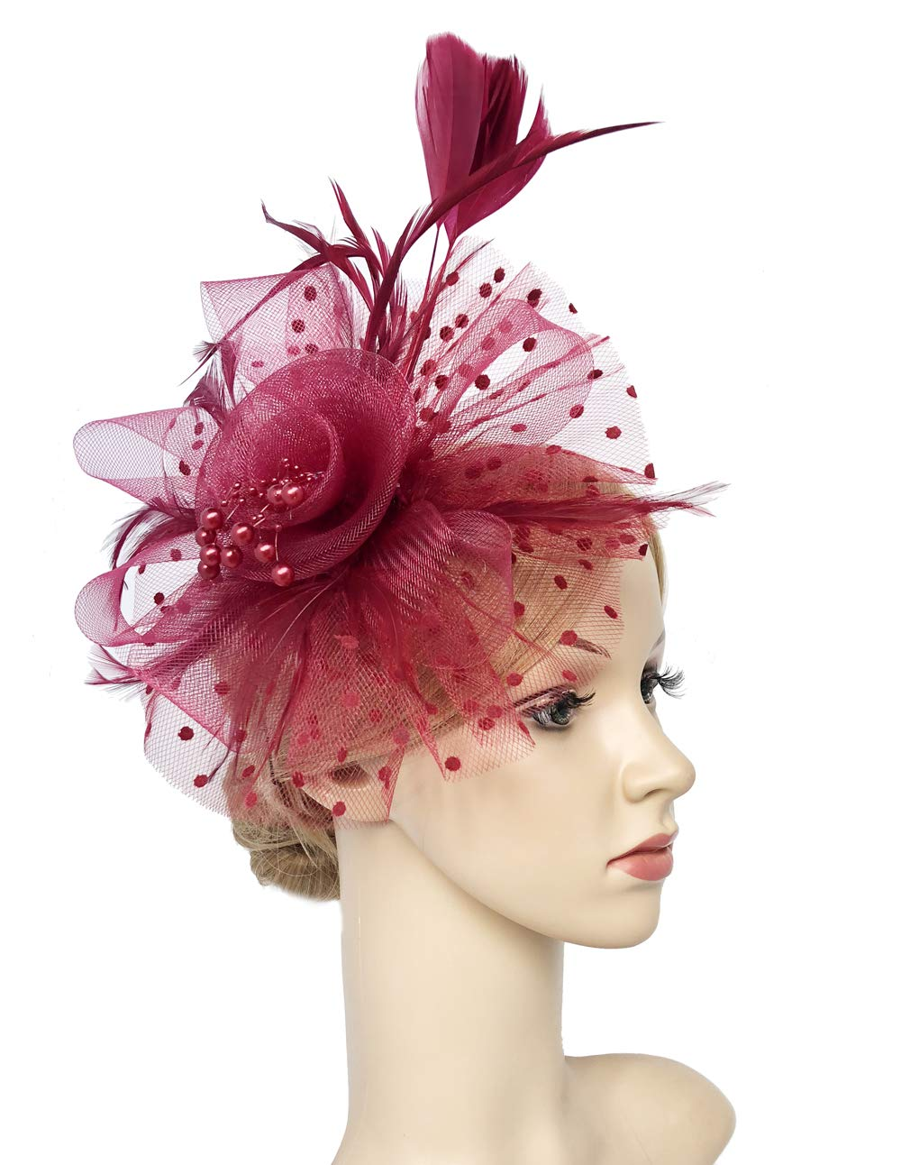 Flower Cocktail Tea Party Headwear Feather Fascinators Top Hat for Girls and Women (Burgundy)