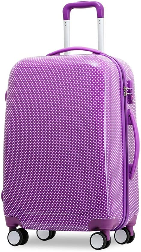 Cute Spotted Luggage Boarding case LEYOUDIAN Laganxiang Trolley case Universal Wheel Suitcase Color : Purple, Size : 38cm26cm55cm