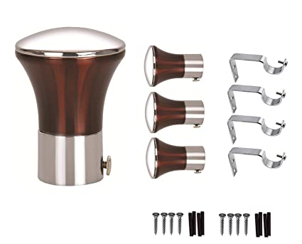 HomePlus Curtain Heavy Bracket Finials 4 Pieces with 4 Pieces Support for Door and Window Fittings 1 Inch Rod (Copper)