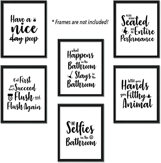Bathroom Quotes and Art Sayings Prints | Set of Six Funny Photos 8x10  Unframed | Great Inspirational Bathroom Decor Gift | Rules Posters Modern  ...