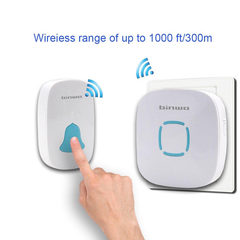 Timbre de puerta inalámbrica, binwo plug-in Wireless inalámbrica impermeable timbre Kit, 1 receptor 1 transmisor con pie de 1000 recorrido,...