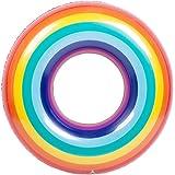 浮き輪 水遊び用 大人用 子供用 レインボー ビッグサイズ フロート 虹 カラフルフロート インスタ プール ビーチ おもしろ おもちゃ (子供用 90 CM)