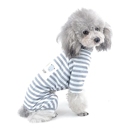 Selmai Stripe Outfits For Small Dog Pet Cotton Pajamas Doggie Jumpsuit Puppy Clothesthis Jumpsuit Run Smallplease Choose One Size Larger