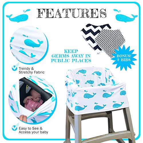 INFANT CAR SEAT COVER with 2 ULTRA SOFT BANDANA DROOL BIBS for BOYS & GIRLS, COVERS UP NURSING BREASTFEEDING MOMS, NEW BABY CARSEAT CANOPY, UNISEX, STRETCHY, NEWBORN SHOWER GIFTS for BABIES and MOM