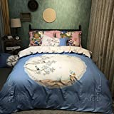 Premium Home Textile 100% Cotton Bedding Set Birds Pattern Duvet Cover Set with Bed Sheet and Pillowcases No Comforter Queen Size,4Pcs