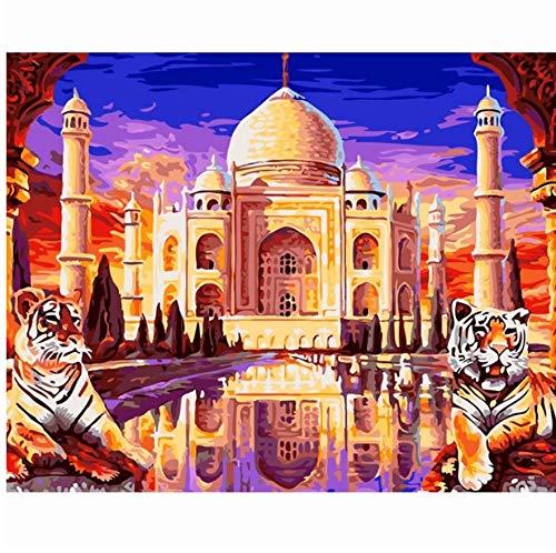 ADVLOOK Taj Mahal Tigre Pintura por Números Arte De La Pared DIY Han Paintied Animales Pintura Decoración para El Hogar Sala Ilustraciones Sin Marco 40X50Cm