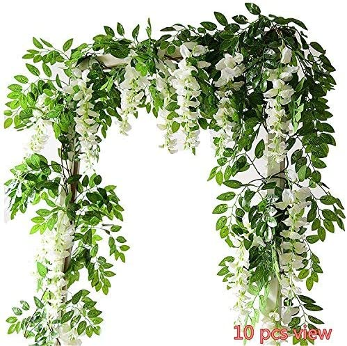 2X=7ft Artificial Wisteria Vine Garland Plant Foliage Outdoor Trailing Flowers