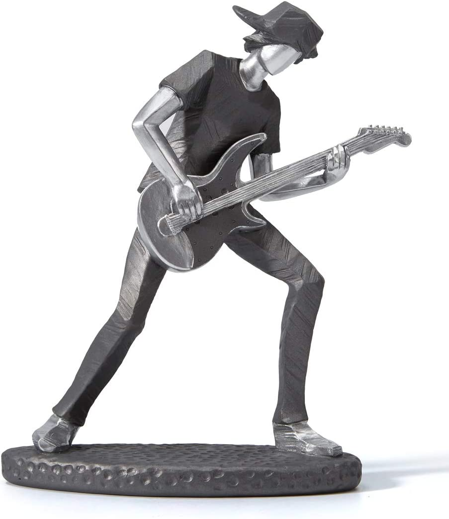 HAUCOZE Statue Figurine Musician Music Decor Guitar Rock Band Sculpture Piano Gifts for Home Souvenirs Giftbox Resin 23.5cmH