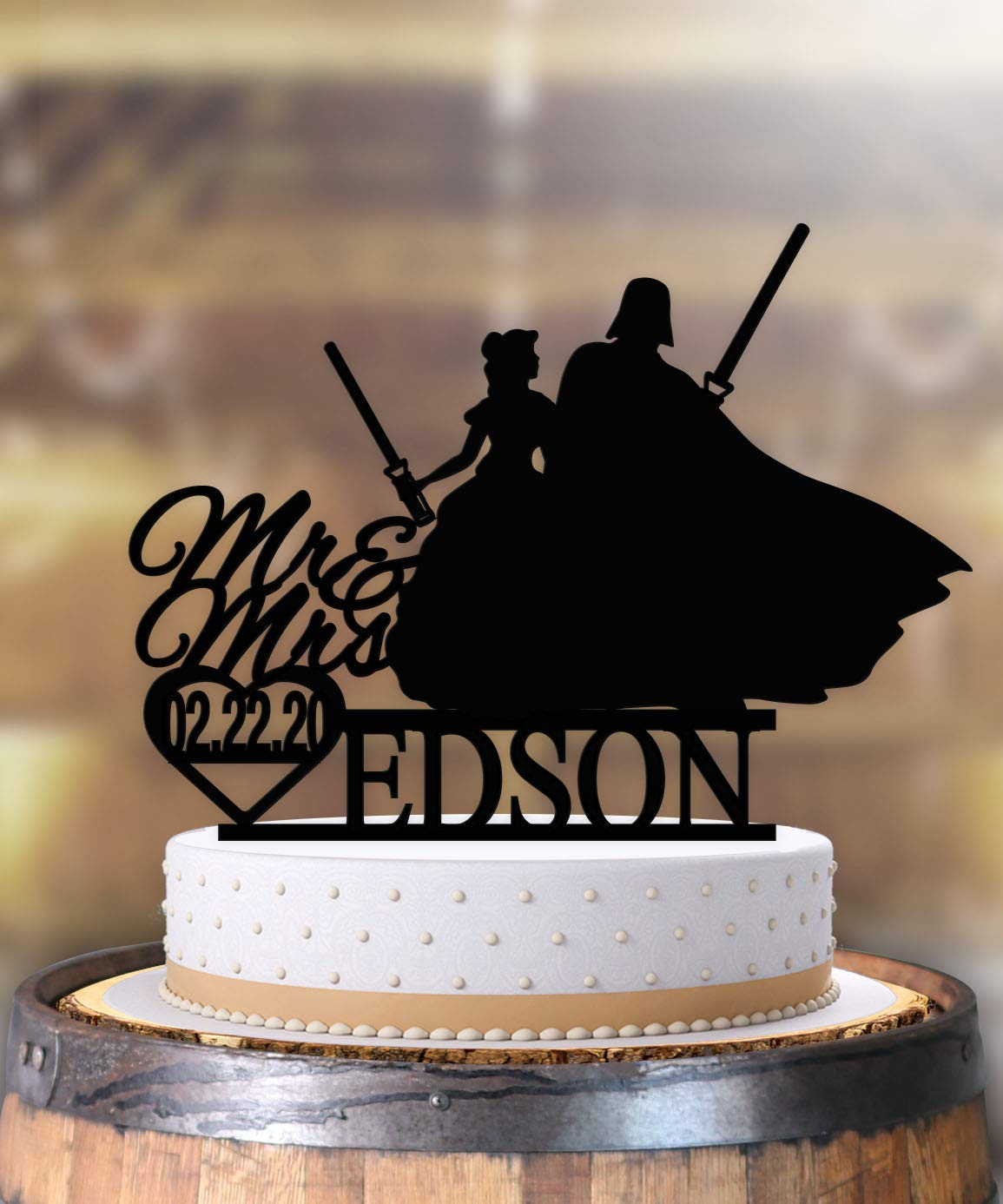 Amazon Com Belle And Vader Star Wars Wedding Cake Topper Personalized Handmade