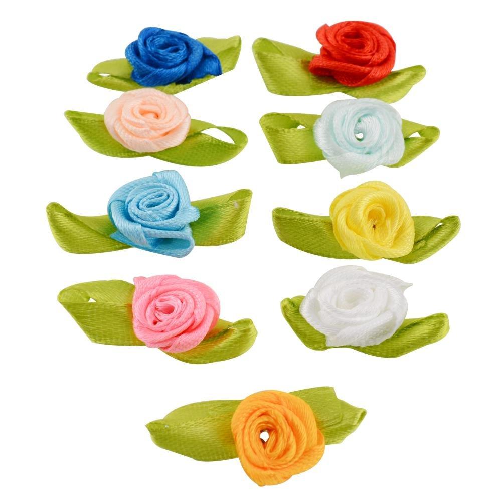 attachmenttou Multicolor Mini Ribbon Bows Roses Flowers Craft Artificial Ornament Applique Wedding Sewing DIY 100 PCS Kicode