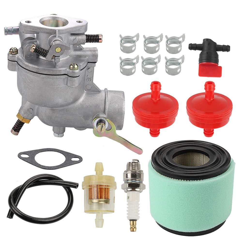 Allong Carburetor Air Filter Fuel Hose Shut Off Valve for Briggs & Stratton 390323 394228 299169 7 8 9 HP Horizontal Engine Motor Generator Tiller Mower Carb Toro 293950 394514