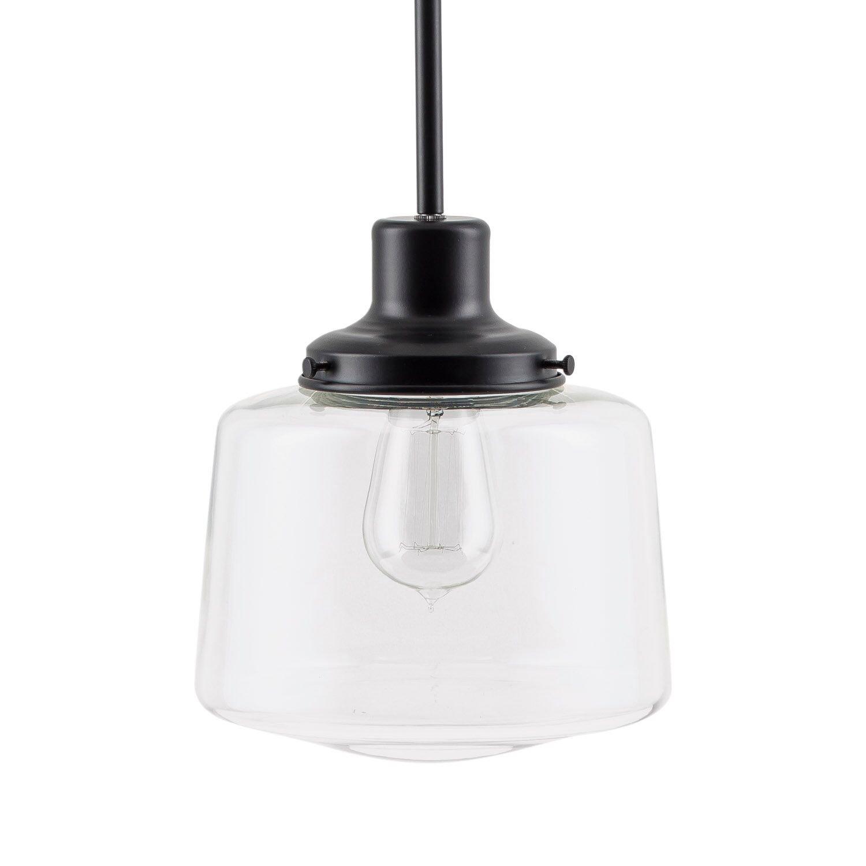 Scolare LED Schoolhouse Pendant - Black w/ Clear Glass Shade - Linea di Liara LL-P274-BLK