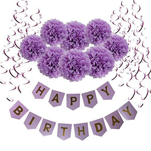 Wartoon Happy Birthday Banner Bunting with 8 Tissue Paper Pom Poms Flowers and 15 Hanging Swirl Decorations for Birthday Party Decorations (Purple) ()