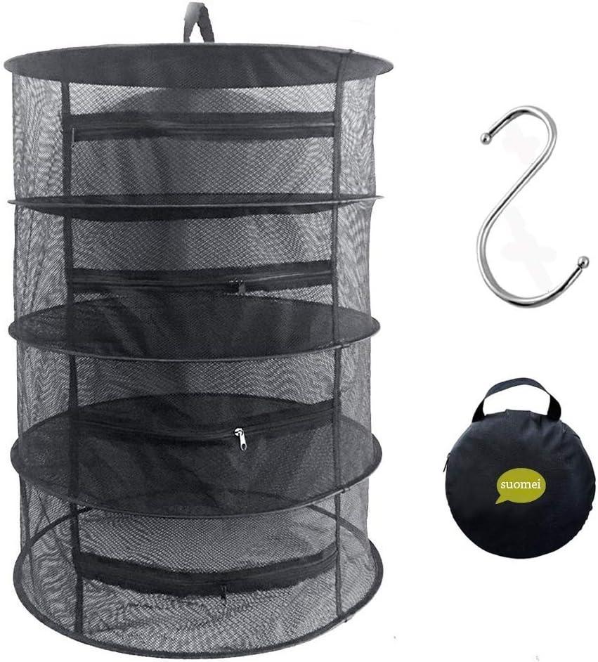 4Capa de Malla para colgar red de secado Rack seco hierbas aromáticas con cremalleras, regalo para S colgar hebilla y bolsa de almacenamiento, negro