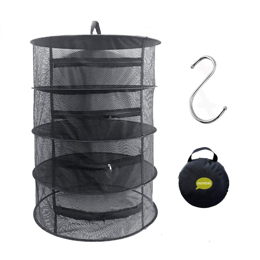 SUOMEI 4 Layer Mesh Hanging Herb Drying Rack Dry Net with Zippers,Gift to S Hang Buckle and Storage Bag,Black by SUOMEI
