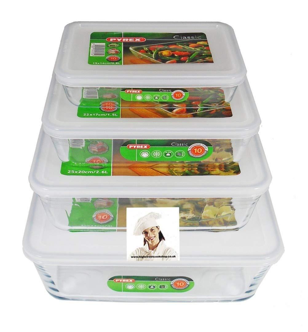 Pyrex, Set of 4 Pyrex Dishes with Plastic lids Free UK Postage. Sizes - 19cm - 22cm - 25cm - 27cm