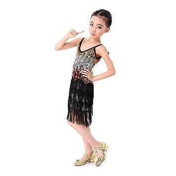 97b44bb740e65 SymbolLife Girls Latin Dance Dress, Children Kids Sequin Fringe Stage  Performance Competition Ballroom Dance Costume Girls Latin Salsa Tango  Tassel ...