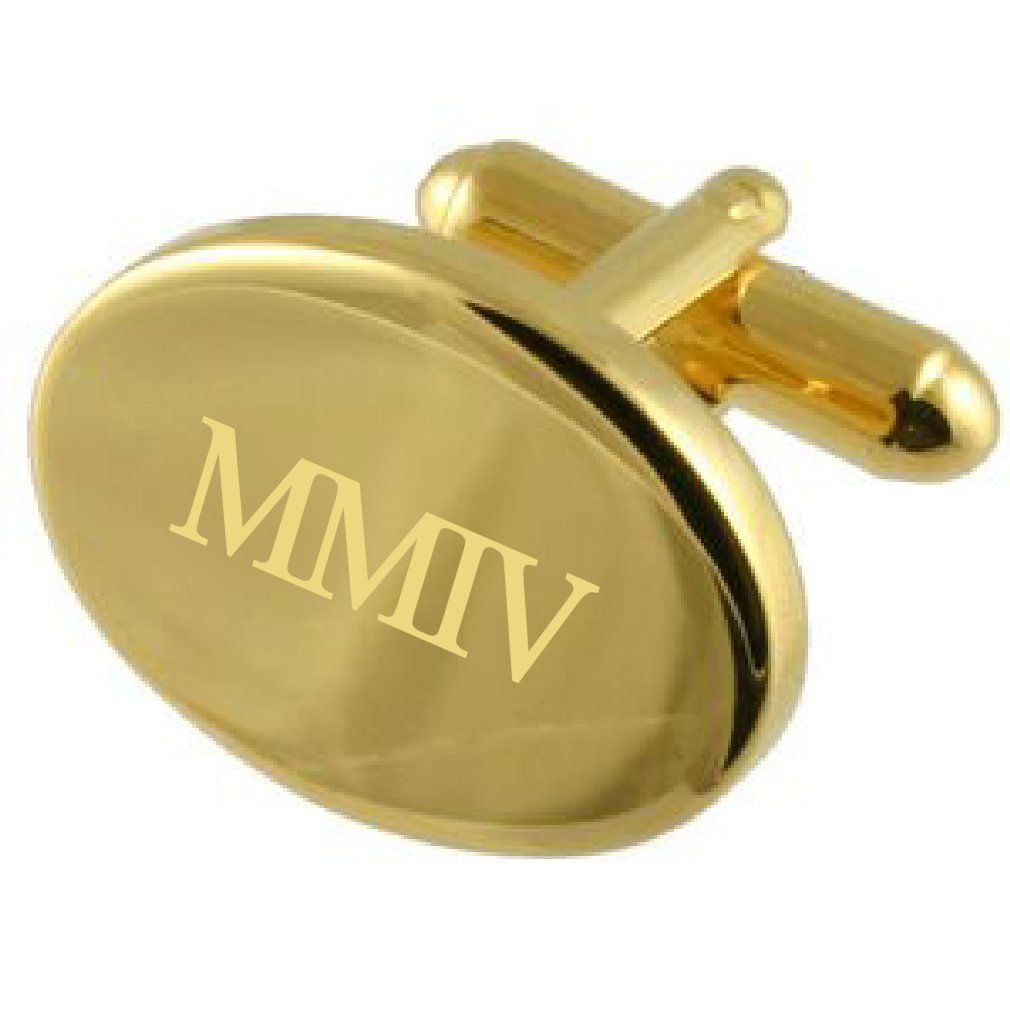2004 Gold-tone Oval Birthday Year Number Age Roman Numeral Cufflinks