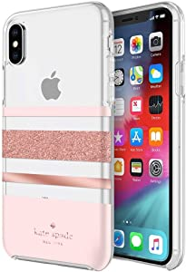 Kate Spade New York Flexible Hardshell Case for iPhone XR – Charlotte Stripe Rose Gold Foil