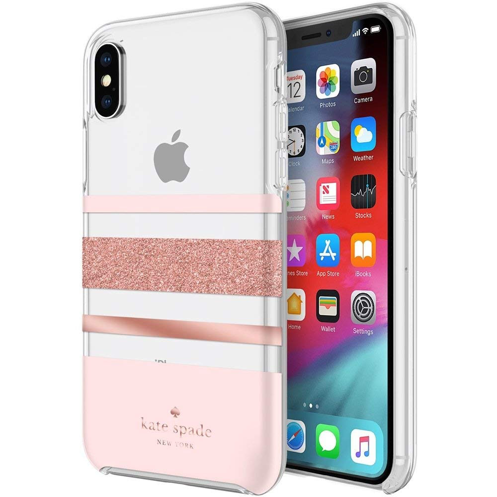 Kate Spade New York Flexible Hardshell Case for iPhone Xs/iPhone X - Charlotte Stripe Rose Gold Foil by Kate Spade New York