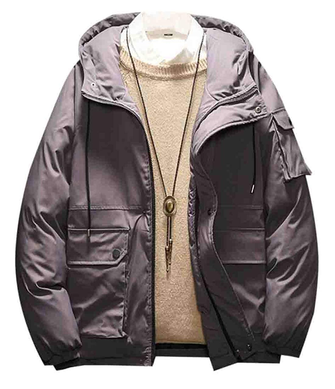 YYear Men Fashion Thicken Winter Drawstring Quilted Paddeduflage Hooded Pockets Puffer Jacket