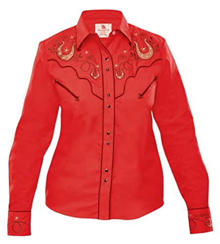 Modestone Women'S Embroidered Long Sleeved Fitted Western Camisa Vaquera Horseshoes Hearts Red