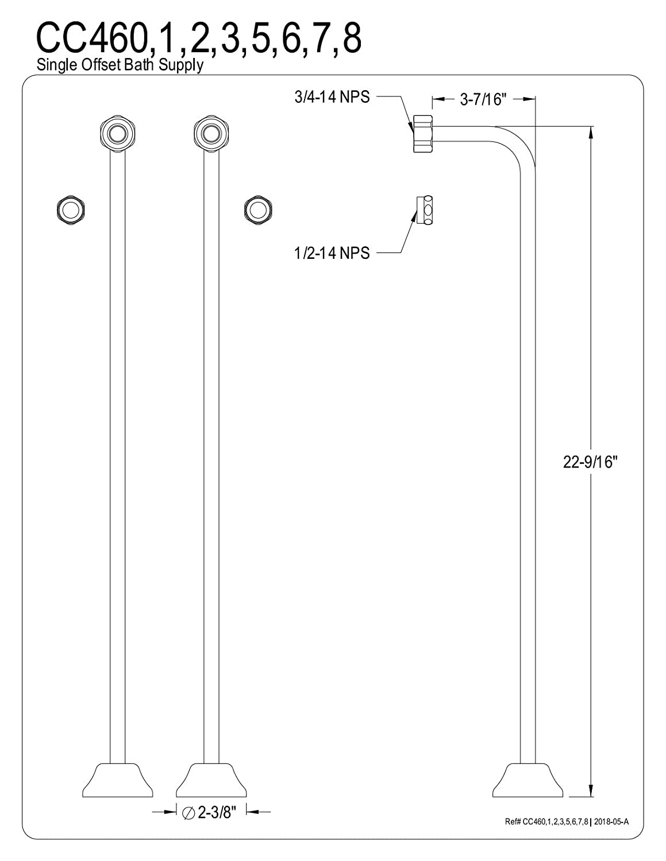 KINGSTON BRASS CC461 Single Offset Bath Supply Lines 22 Length, Polished Chrome