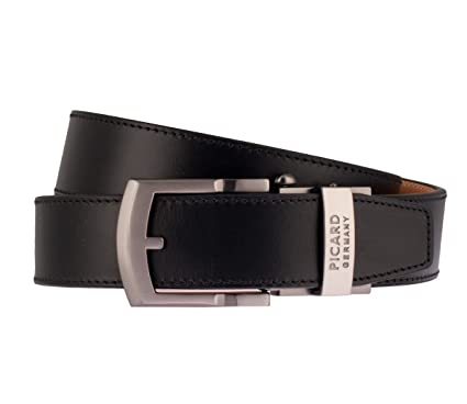 e2b1f2514425a PICARD Belt Herrenledergürtel Automatikschließe Black Mens Leather Belt -  Black - 38 IN  Amazon.co.uk  Clothing