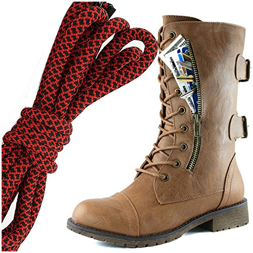 DailyShoes Womens Military Lace Up Buckle Combat Boots Mid Knee High Exclusive Credit Card Pocket, Red Black Slim Tan