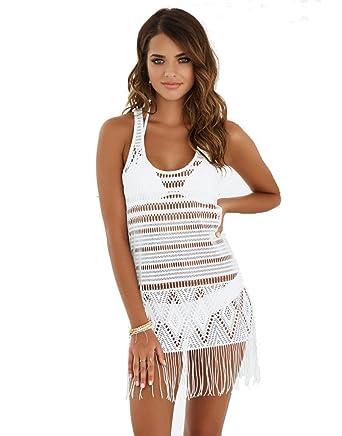 0418616c8 Beach Bunny Desert Dreamer White Fringe Dress B17110C2-WHTE at Amazon  Women's Clothing store: