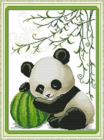 vurtuecrafts DIY artes manualidades y costura de punto de cruz Kits de punto de patrones de bordado decoración del hogar bebé panda (sin marco): Amazon.es: ...