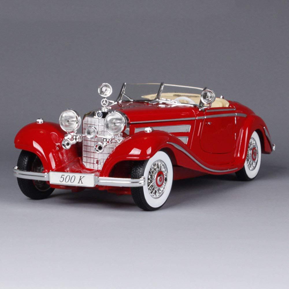 Die Beste Geschenksammlung,White T/üR Und Motorhaube K/öNnen Ge/öFfnet Werden LMEI-Cars Mercedes-Benz 500K Retro Oldtimer Modell 1:18 Statische Simulation Alu-Druckguss-Automodell