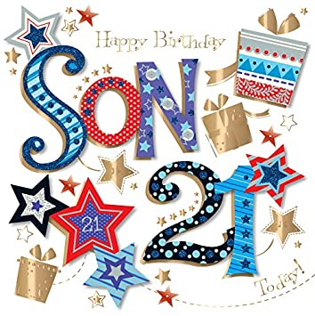 Son 21st Birthday Handmade Embellished Greeting Card By Talking