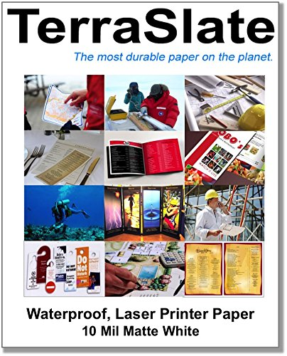 TerraSlate Paper 10 mil Heavy Stock Waterproof Laser Printer/Copy Paper 8.5' x 11' 50 Sheets