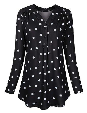5490d2ec3e8 AMZ PLUS Women s Plus Size Loose Blouse Stretch Long Sleeve Tops Polka Dot  V Neck Casual
