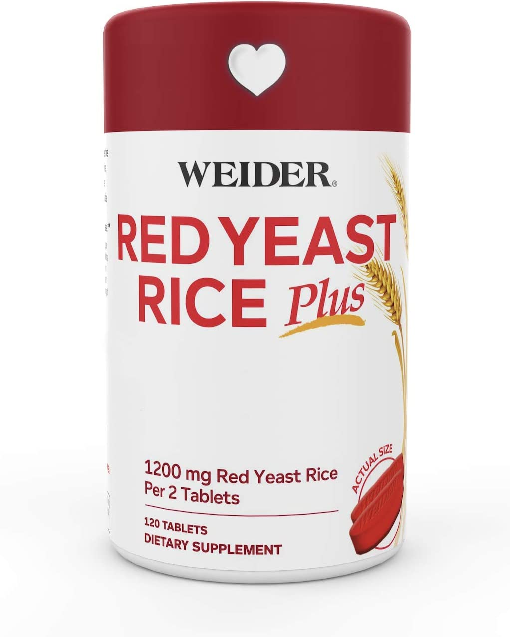 Weider Red Yeast Rice Plus 1200mg – With 850mg of Natural Phytosterols- Gluten FREE – One Month Supply