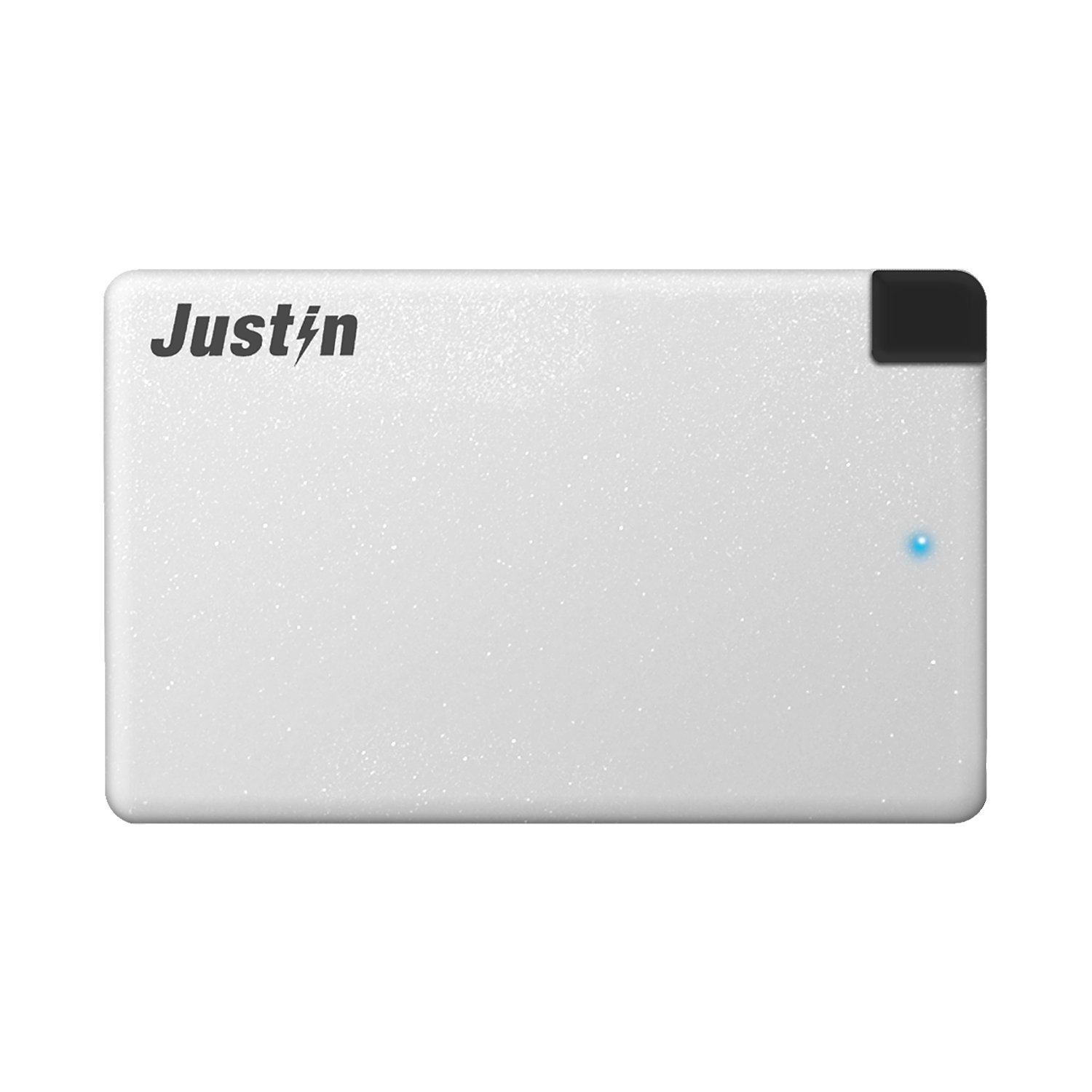 Justin Power 2,500 mAh Slim Power Bank with Built-In Micro-USB Cable, Silver