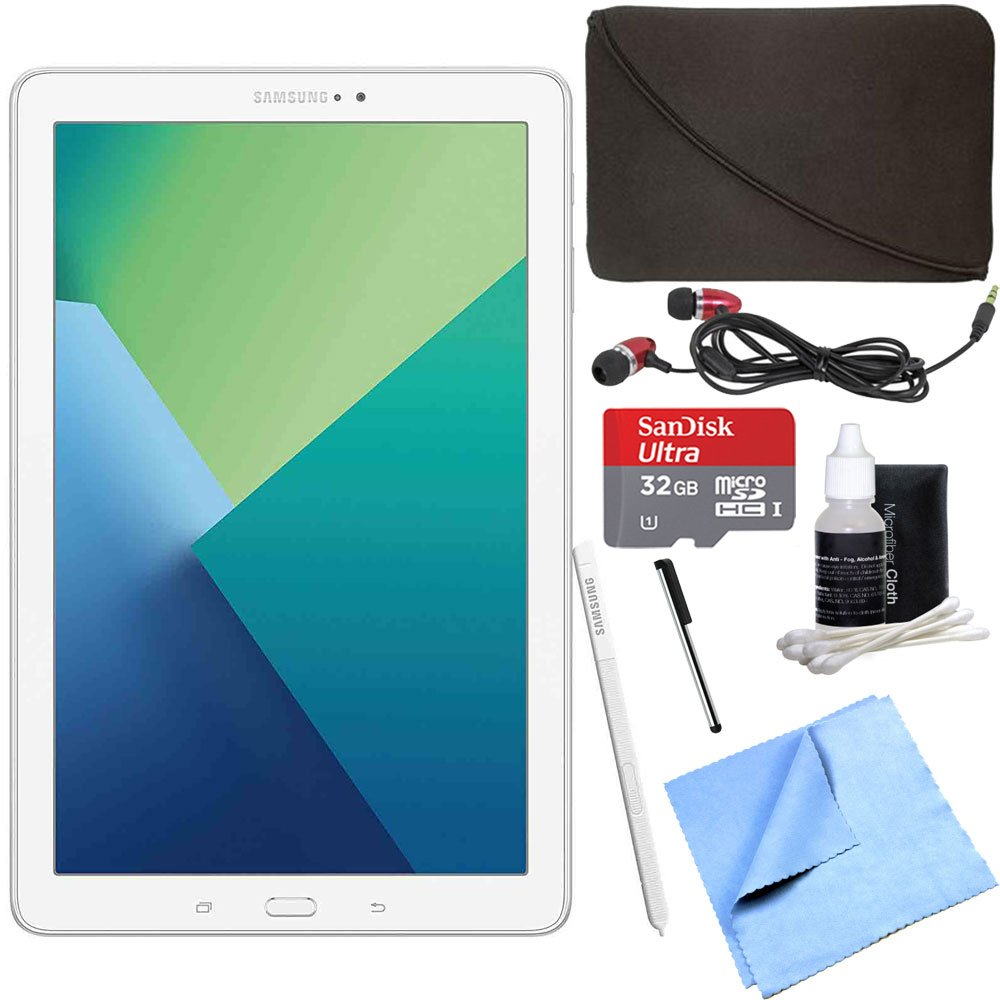 Samsung Galaxy Tab A 10.1 Tablet PC White w/ S Pen 32GB Bundle includes Tablet, 32GB MicroSD Card, Microfiber Cloth, Cleaning Kit, Stylus Pen with Clip, Protective Neoprene Sleeve and Metal Ear Buds