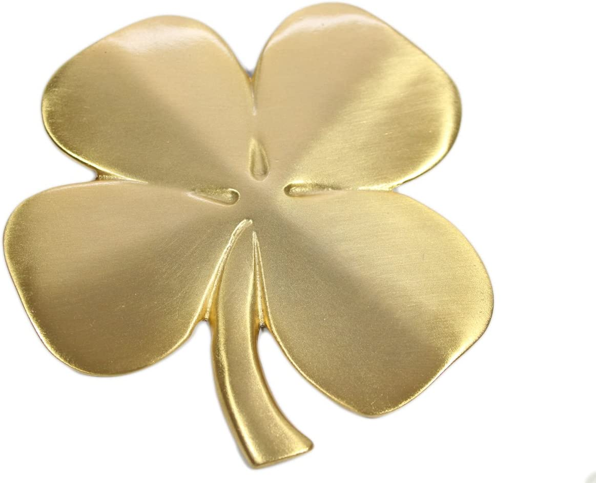 Biddy Murphy Lucky Four Leaf Clover Ireland Wall Hanging Gold Lucky Shamrock Plated Pewter Irish Blessing Wall Decor