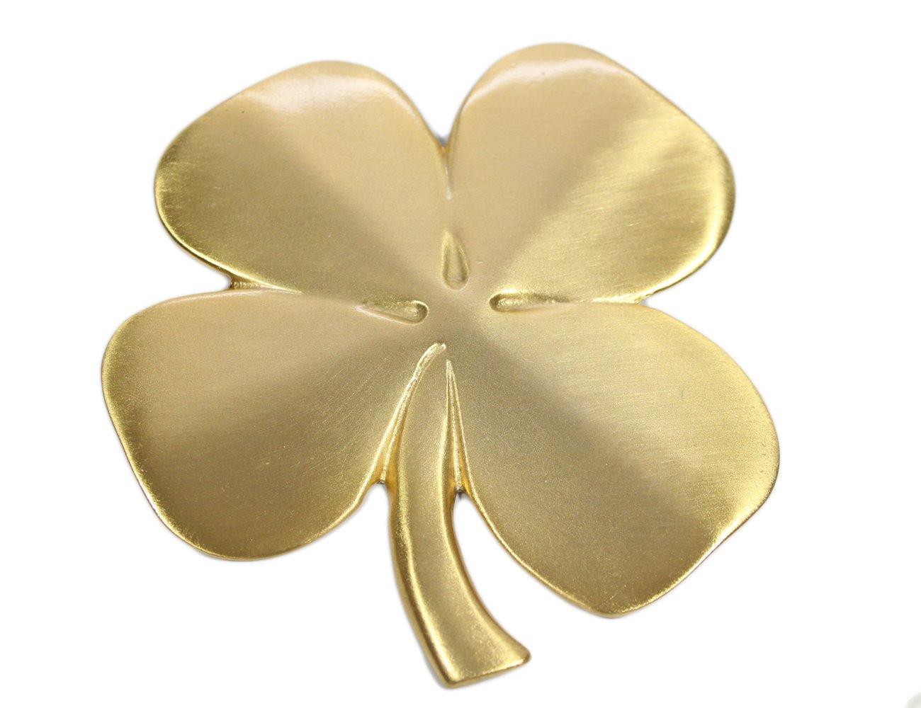 Robert Emmet Co. Lucky 4 Leaf Clover Ireland Wall Hanging Gold Lucky Shamrock Plated Pewter Irish Blessing Wall Decor